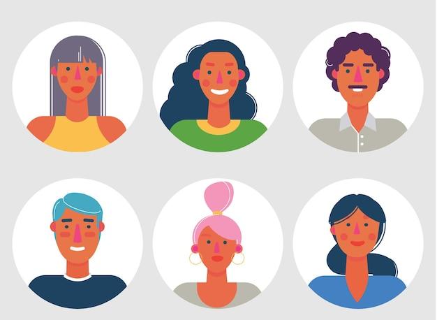 Conjunto de avatares de material de dibujos animados. personajes para web