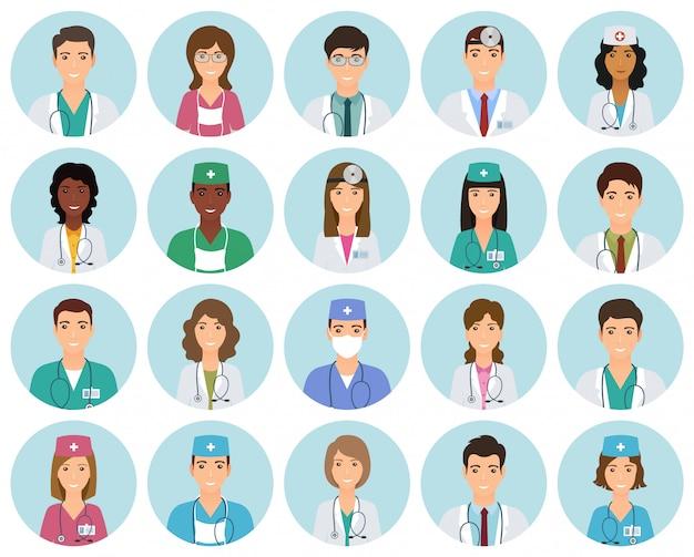 Conjunto de avatares de médicos y enfermeras en uniforme en marcos de círculo. colección de caras de empleados de medicina en círculos.