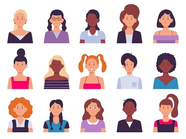 Conjunto de avatares de mujeres