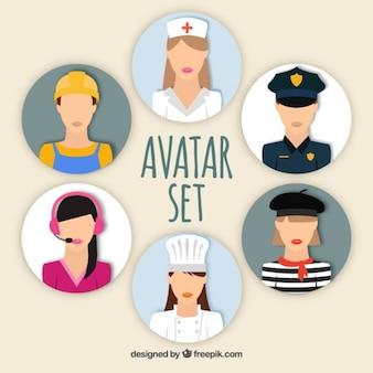Conjunto avatares de mujeres Vector Premium
