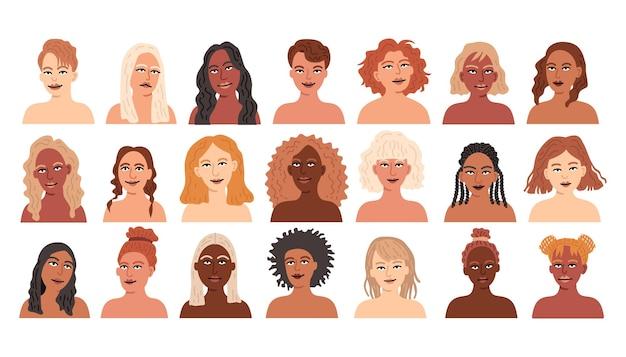 Conjunto de avatares de niña de diferentes nacionalidades de mujeres