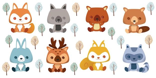 Conjunto de avatares y pegatinas emoji de personajes tropicales y forestales