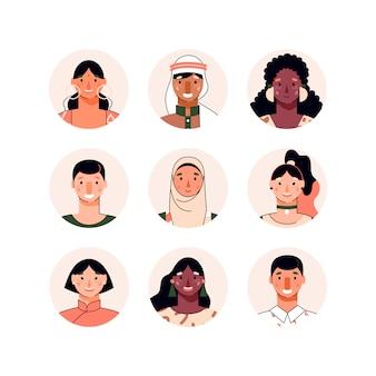Conjunto de avatares de personajes multiétnicos.