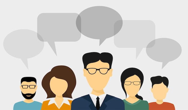 Conjunto de avatares de personas con burbujas de discurso, ilustración de estilo, concepto de comunicación de personas