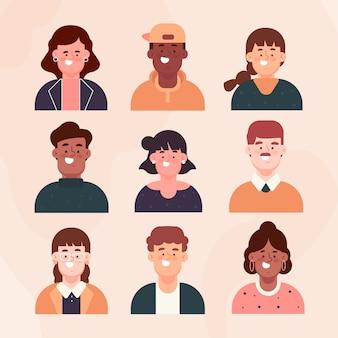 Conjunto de avatares de personas de diseño plano
