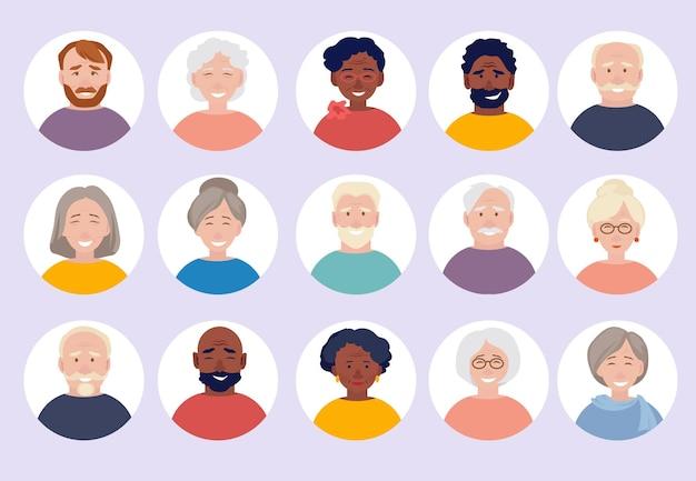 Conjunto de avatares de personas mayores