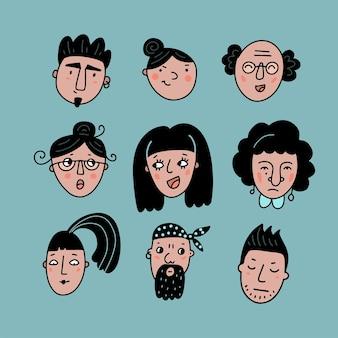 Conjunto de avatares de personas para sitios web de redes sociales, retratos de garabatos de hombres y mujeres, niñas y chicos, colección de iconos de cabeza dibujados a mano de moda, ilustración de vector de color de doodle