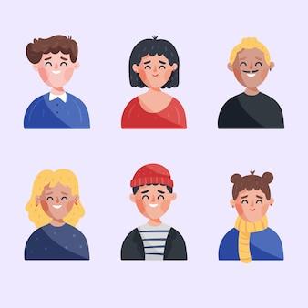 Conjunto de avatares de personas