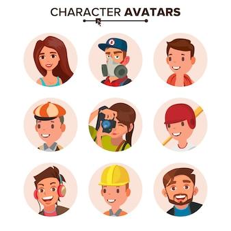 Conjunto de avatares de personas.
