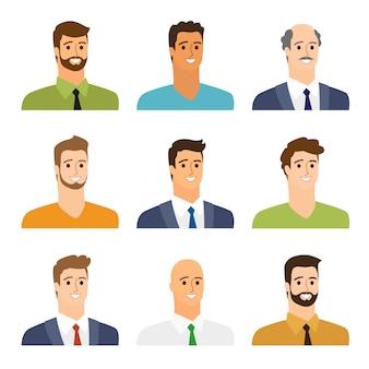 Conjunto de avatares planos de hombres de negocios