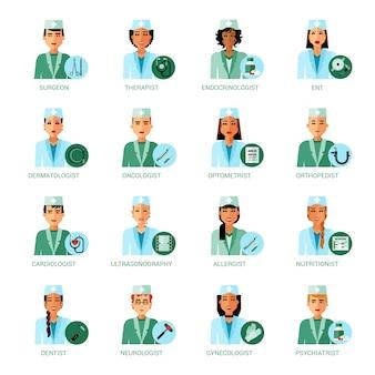 Conjunto de avatares de profesiones médicas