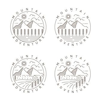 Conjunto de aventura de montaña al aire libre monoline o ilustración de vector de estilo de arte lineal