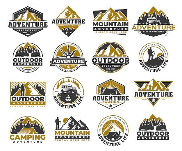 Conjunto de aventura y plantilla de logotipo vintage al aire libre, insignia o emblema de estilo.