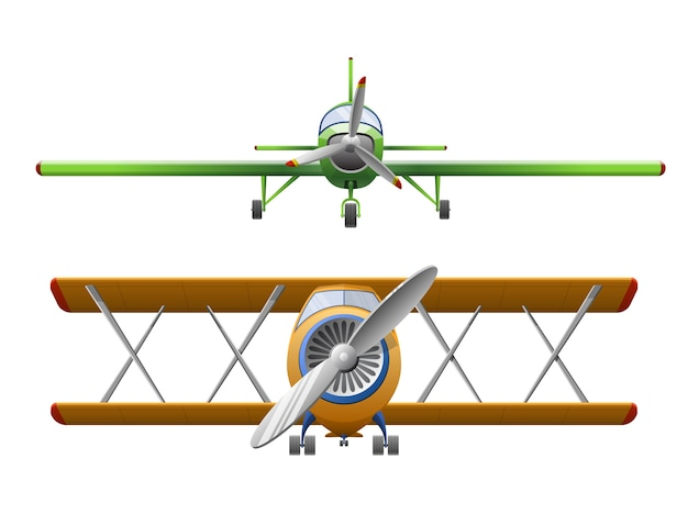 Conjunto de avión en estilo de dibujos animados aislado