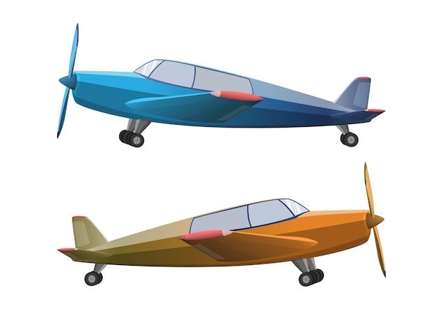 Conjunto de avión en estilo de dibujos animados sobre fondo blanco. avión de hélice agrícola, ilustración
