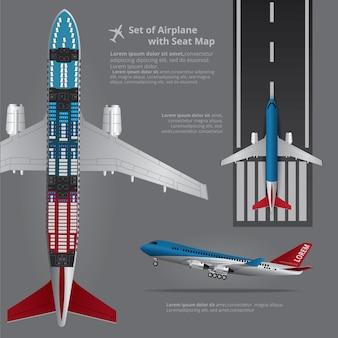 Conjunto de avión con mapa de asiento aislado ilustración vectorial
