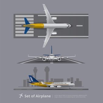 Conjunto de avión en la pista aislada ilustración vectorial