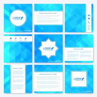 Conjunto azul de folleto de plantilla cuadrada.
