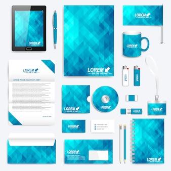 Conjunto azul de plantilla de identidad corporativa.
