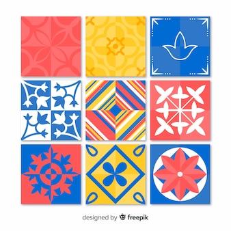 Conjunto de azulejos creativos coloridos