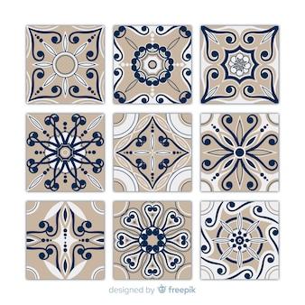 Conjunto de azulejos en diseño flat