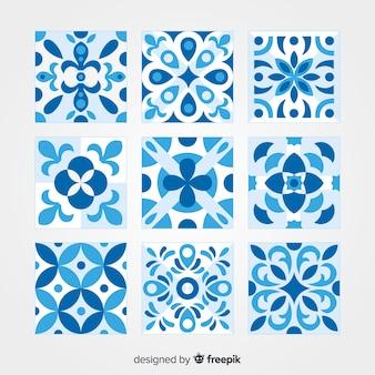 Conjunto de azulejos elegantes flat