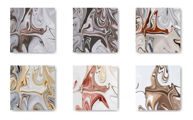 Conjunto de azulejos de oro, negro y mármol blanco
