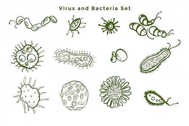 Conjunto de bacterias microscópicas y gérmenes de virus.