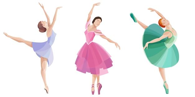 Conjunto de bailarinas de baile. hermosas bailarinas en diferentes vestidos.