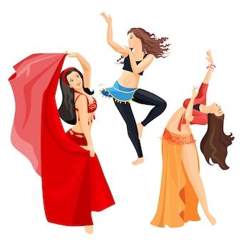Conjunto de bailarinas de danza del vientre de niñas aisladas sobre fondo blanco