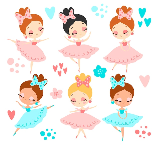 Conjunto de bailarinas planas estilo doodle