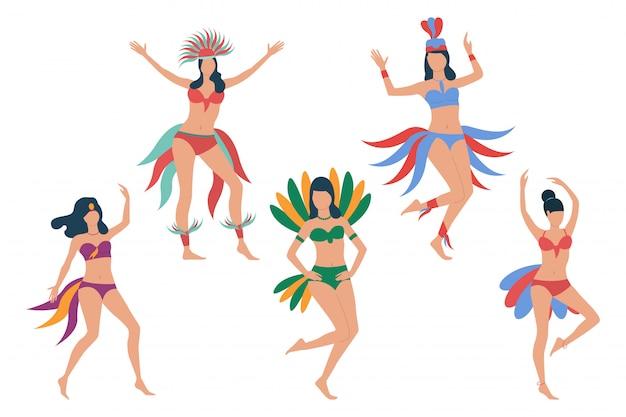 Conjunto de bailarines de carnaval.
