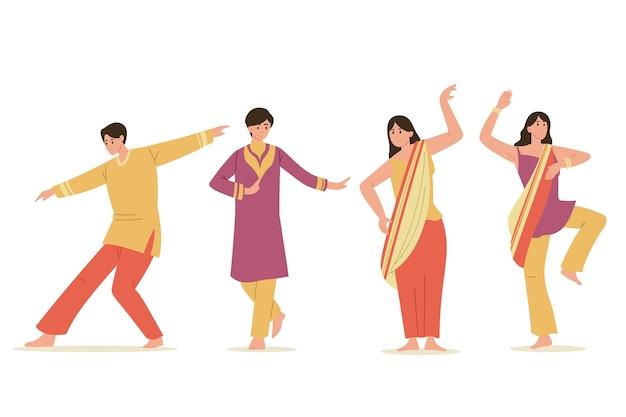 Conjunto de baile creativo de personas de fiesta de bollywood