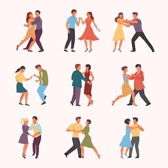 Conjunto de baile en pareja. mujer con círculo de hombre apasionados adolescentes de rumba cubana rock quickstep elegantes personajes masculinos femeninos realizan tango incendiario en salsa de ritmo.