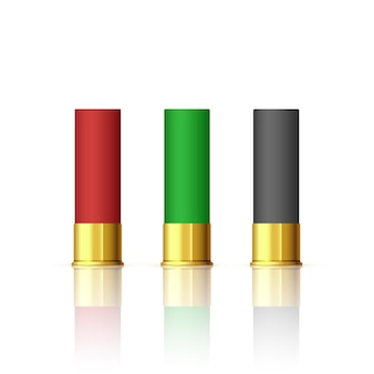 Conjunto de balas de rifle. cartuchos de armas de fuego de caza de escopeta. bala de rifle diferente.