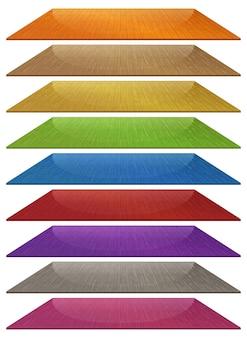 Conjunto de baldosas de madera de diferentes colores aislado sobre fondo blanco.