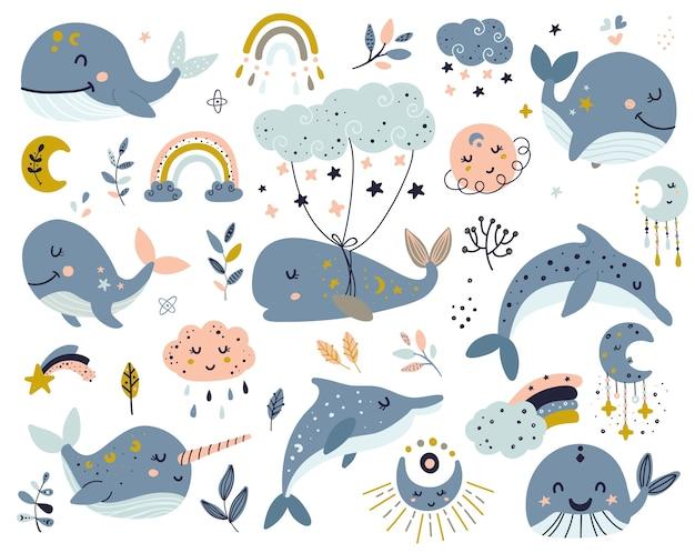 Conjunto de ballenas celestiales, delfines y narval.