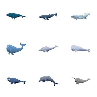 Conjunto de ballenas, estilo de dibujos animados