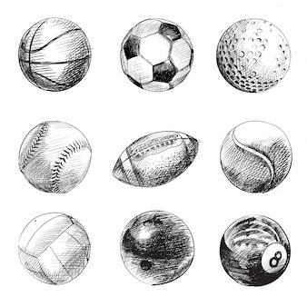 Conjunto de balones deportivos en blanco y negro