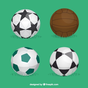 Conjunto de balones de fútbol en estilo plano
