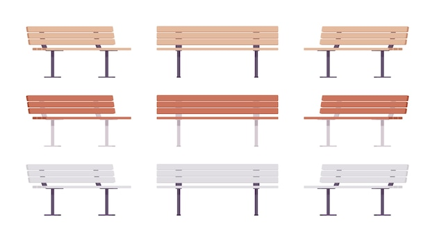 Conjunto de banco de calle de madera. cómodo asiento largo para varias personas, parque público estatal o jardín elemento de relajación. arquitectura del paisaje y concepto urbano. ilustración de dibujos animados de estilo