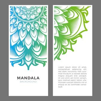 Conjunto de bandera azul mandala verde