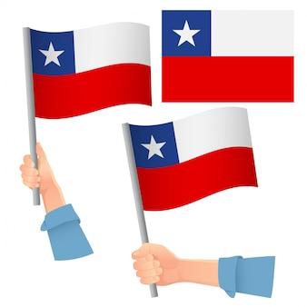 Conjunto de bandera de chile en mano