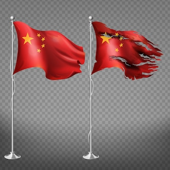 Conjunto de la bandera de china de nuevos y rotos bordes dañados rojo ondeando lienzo nacional del país con estrellas amarillas