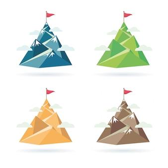 Conjunto de bandera en la cima de la montaña.