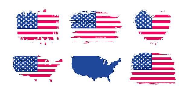 Conjunto de bandera de grunge de estados unidos de américa. trazo de pincel de ee. uu., bandera de textura en forma de corazón, mapa de vector de ee. uu.