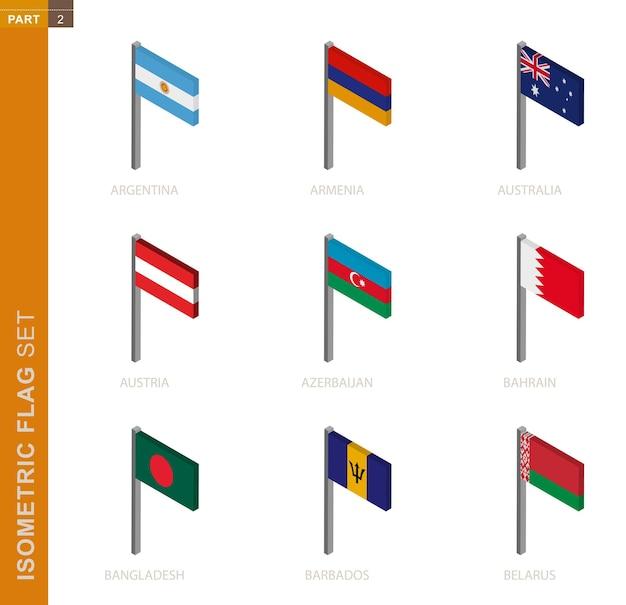 Conjunto de bandera isométrica, asta de bandera en dimensión isométrica. colección de nueve banderas 3d.