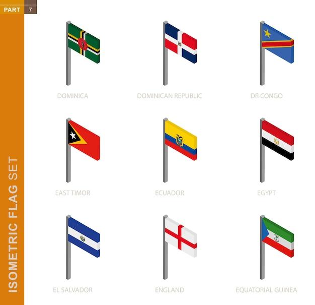 Conjunto de bandera isométrica, asta de bandera en dimensión isométrica. colección de nueve banderas.