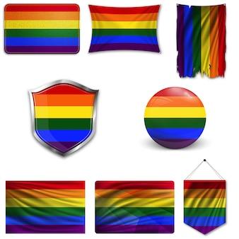 Conjunto de la bandera lgbt en diferentes diseños.