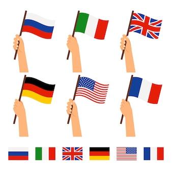 Conjunto bandera en mano